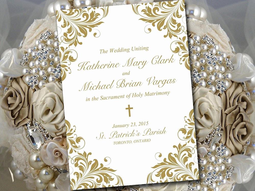 Catholic Wedding Program Templates Free Luxury Catholic Wedding Program Template Printable Fold Over