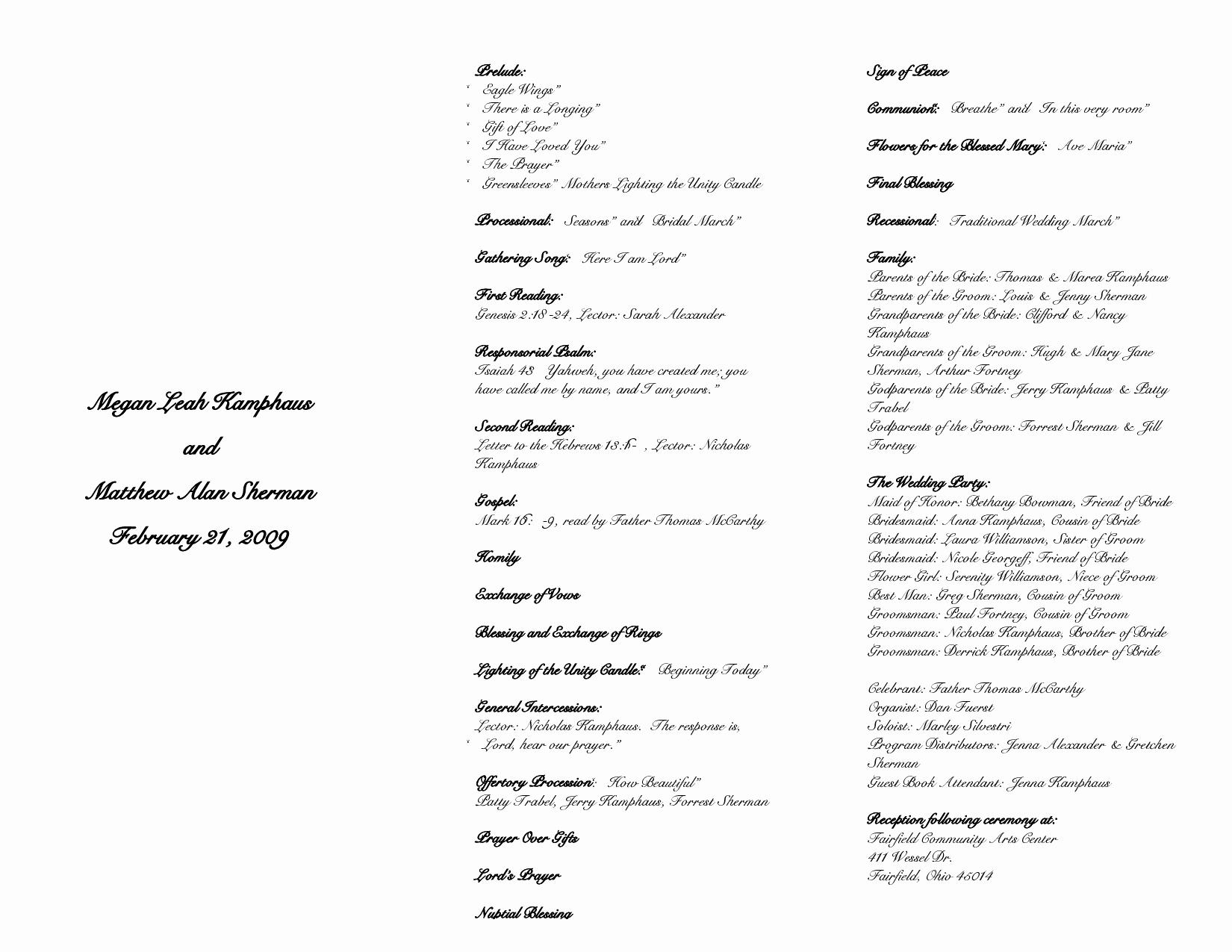 Catholic Wedding Program Templates Free New Best S Of Catholic Wedding Program Template Sample