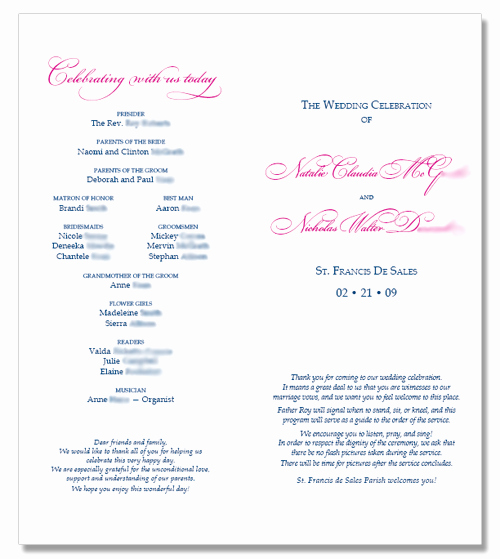 Catholic Wedding Program Templates Free Unique 6 Best Of Catholic Wedding Program Template
