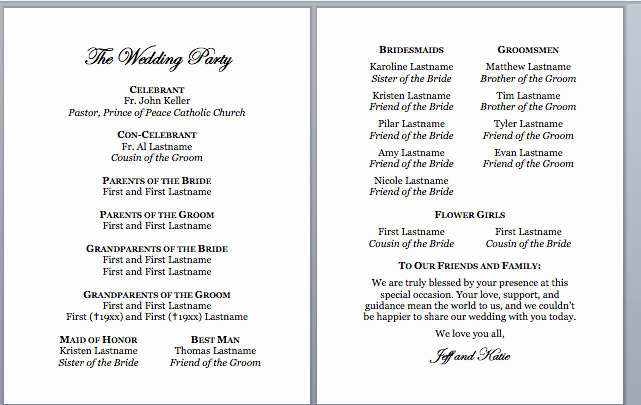 Catholic Wedding Program Templates Free Unique Spirals & Spatulas Catholic Wedding Program