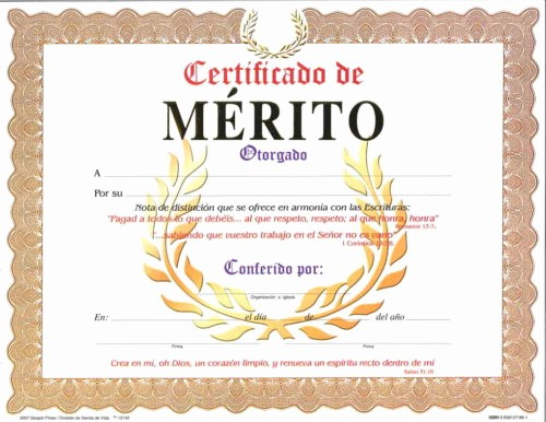Certificado De Agradecimiento Y Apreciacion Fresh Certificado De Merito Pqt De 15 Editorial Evangelica