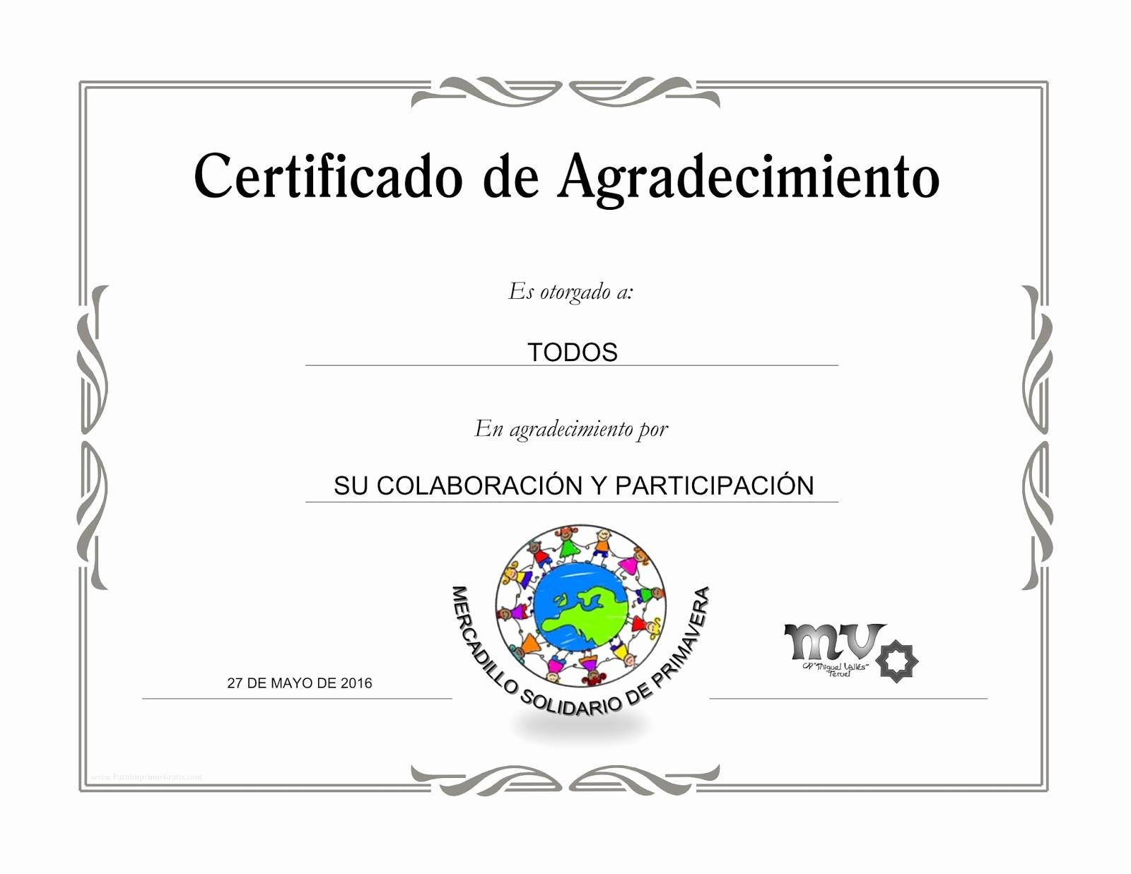 Certificado De Agradecimiento Y Apreciacion Inspirational Certificados De Agradecimiento Para Imprimir Gratis