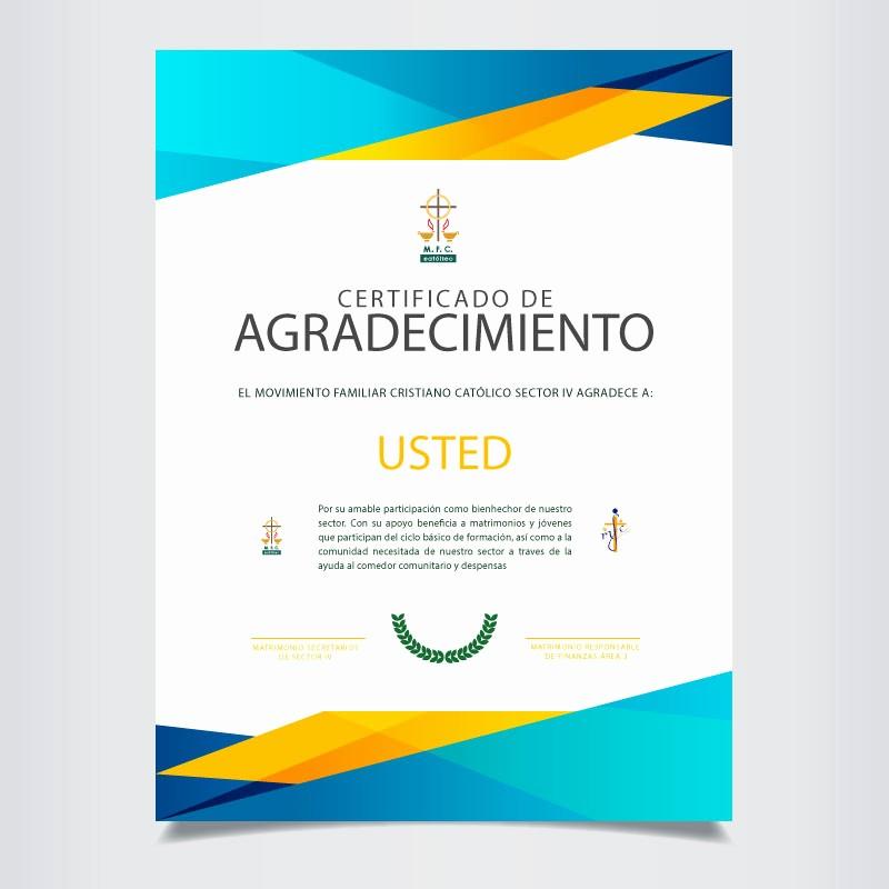 Certificado De Agradecimiento Y Apreciacion Luxury Bienhechores