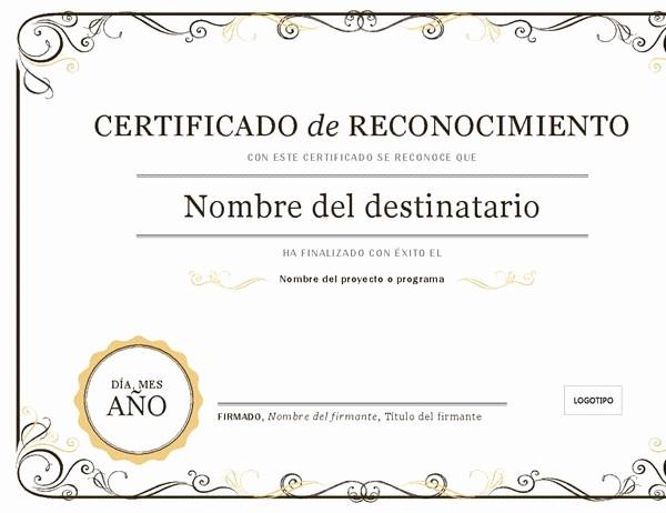 Certificado De Agradecimiento Y Apreciacion Unique Certificado De Reconocimiento