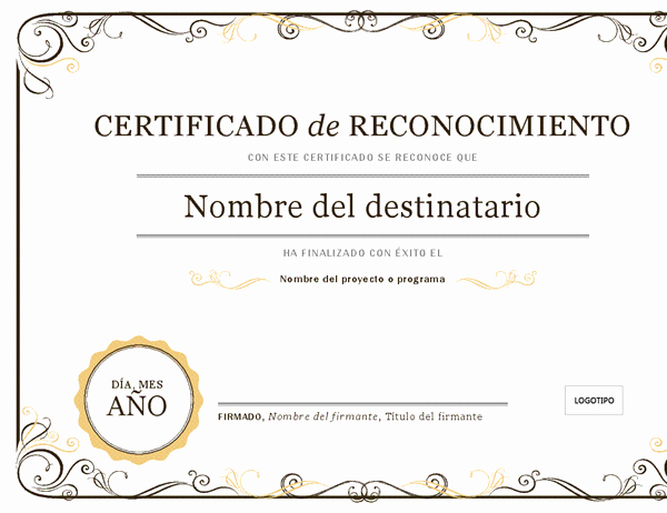 Certificados De Reconocimiento Para Editar Awesome Certificados Fice
