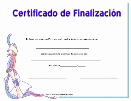 Certificados De Reconocimiento Para Editar Elegant Certificado De Finalizacon Para Imprimir Los Certificados