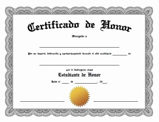 Certificados De Reconocimiento Para Editar Fresh Certificado De Honor Diploma Pinterest
