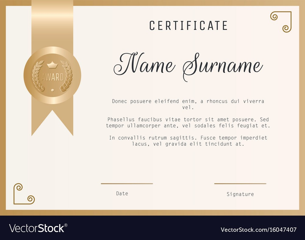 Certificate Background Design Free Download Beautiful Certificate Award Template Blank In Gold Vector Image