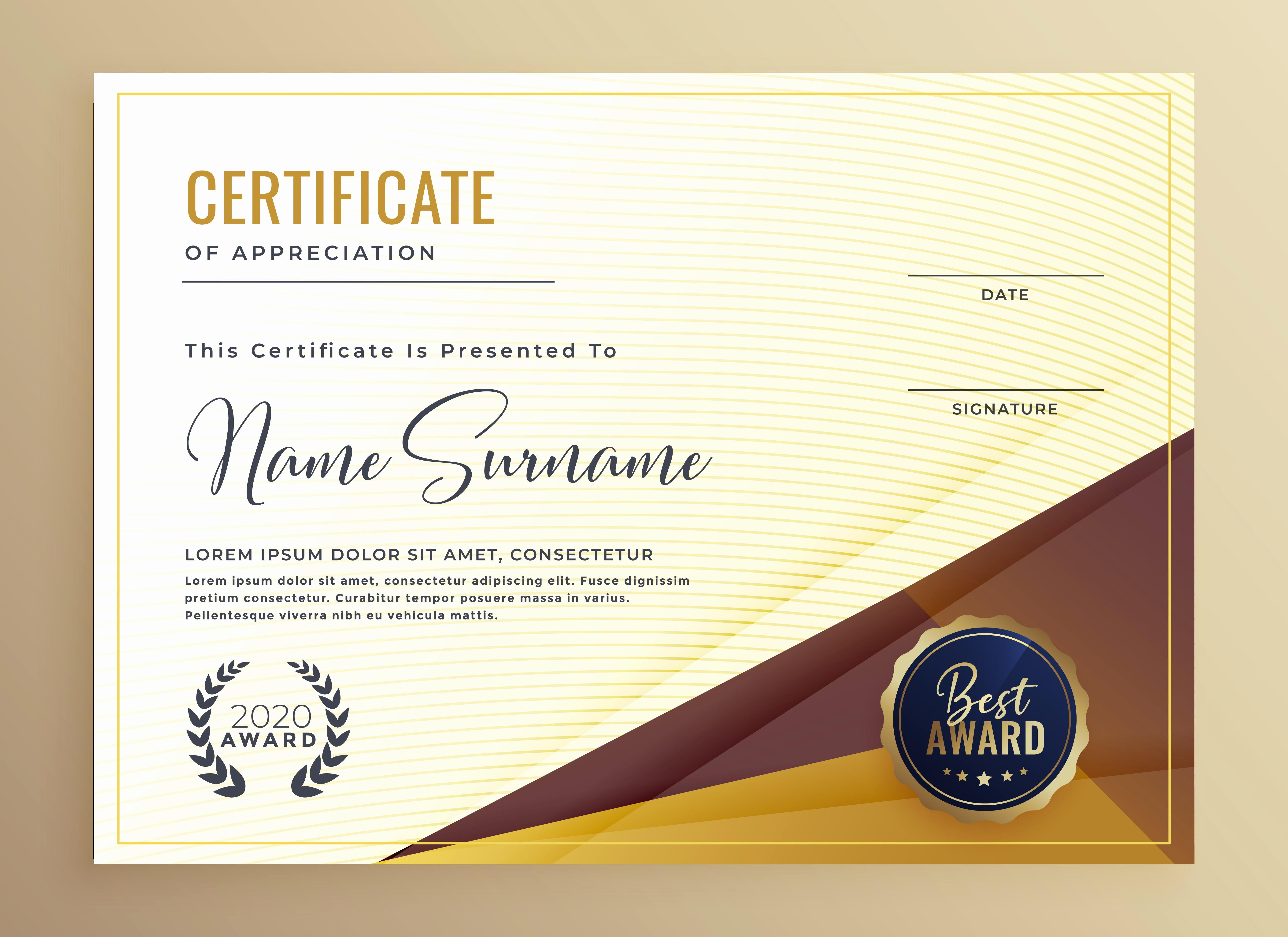 Certificate Background Design Free Download Beautiful Luxury Premium Certificate Design Template Download Free