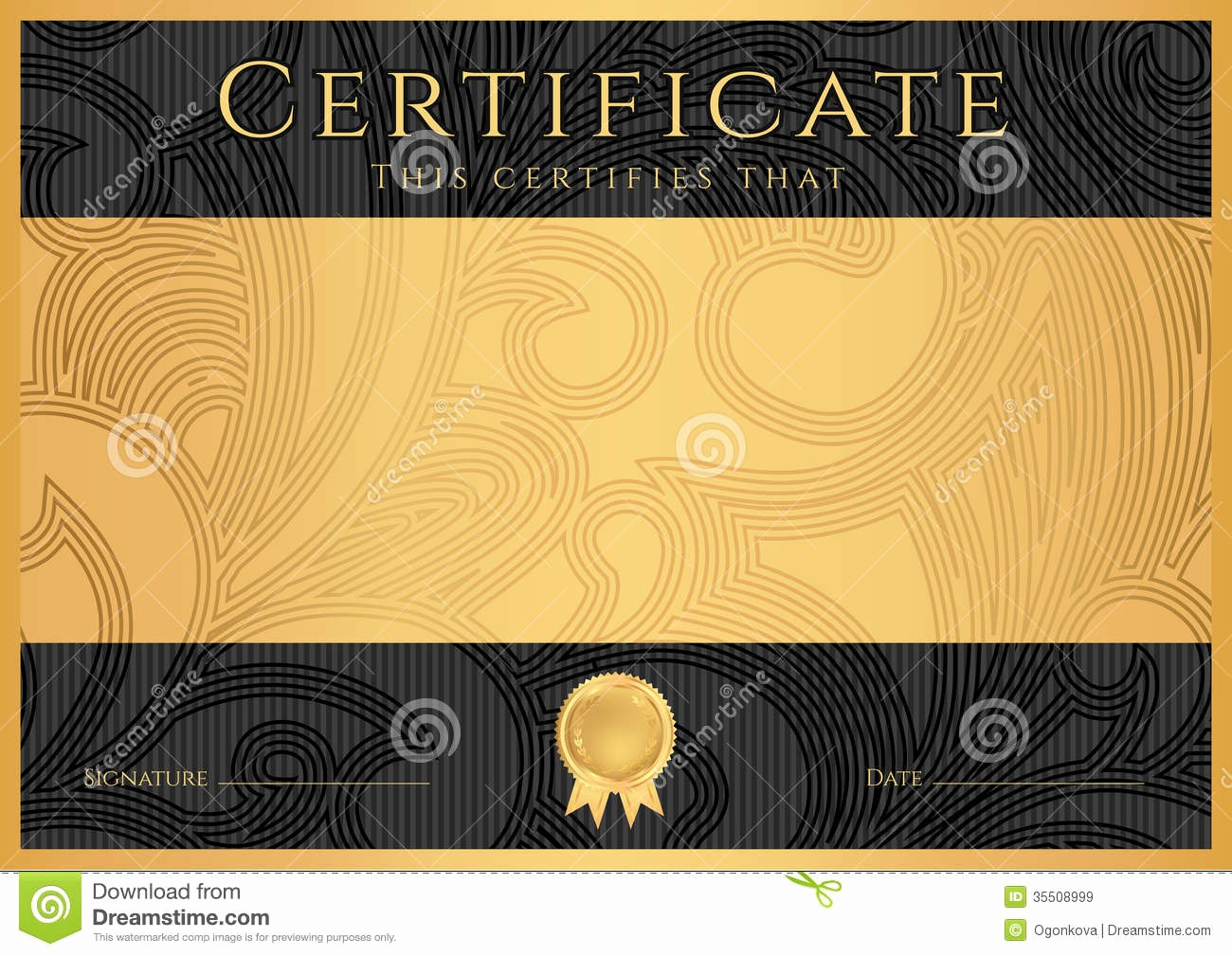 Certificate Background Design Free Download Fresh Diploma Ð¡ertificate Award Template Black Stock Vector