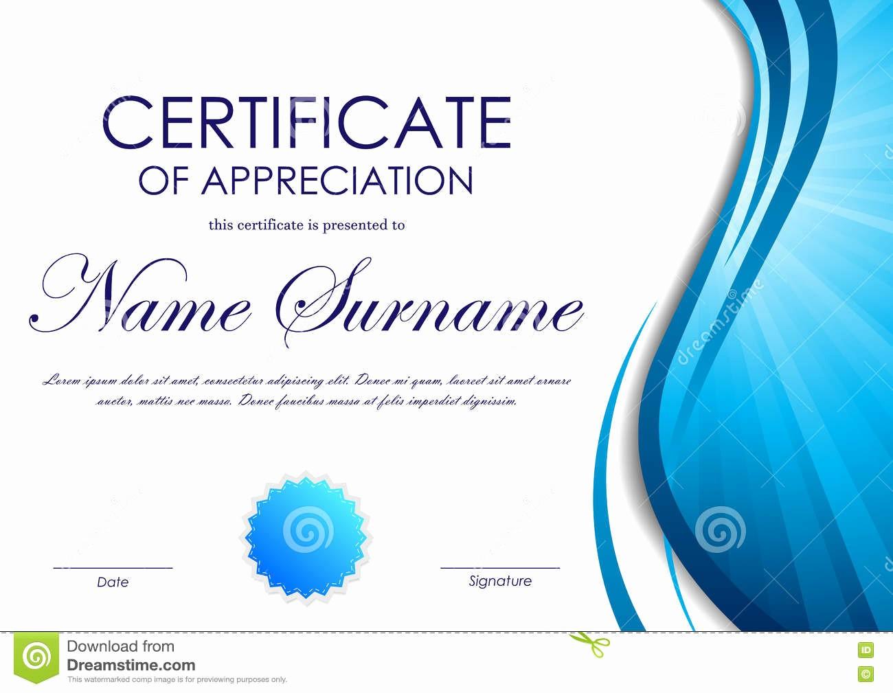Certificate Background Design Free Download New Certificate Appreciation Template Stock Vector