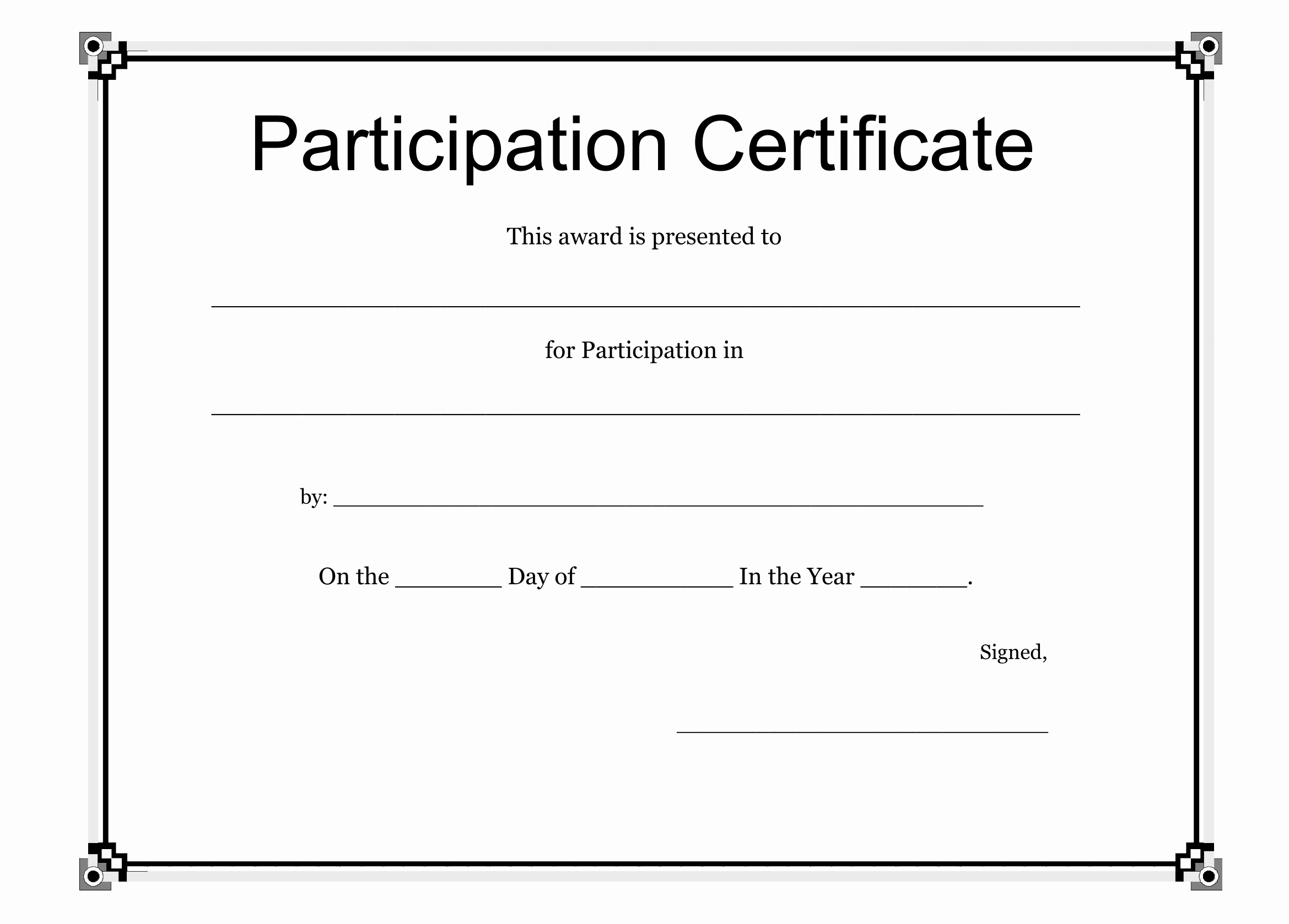 Certificate Design Templates Free Download Unique Participation Certificate Template Free Download
