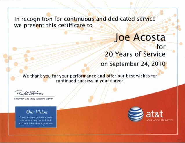 Certificate for Years Of Service Awesome 20 Years Of Service Recognition Certificate
