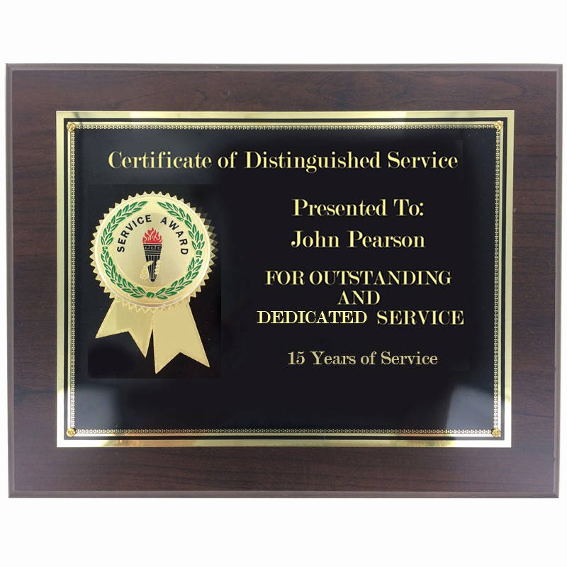 Certificate for Years Of Service Awesome 8 X 10 Inch Service Award Certificate Plaque
