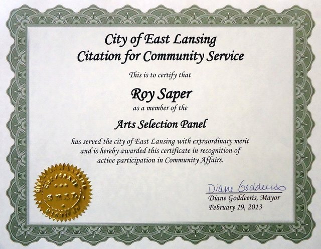 Certificate for Years Of Service Best Of Saper Galleries and Custom Framing Full Service Award