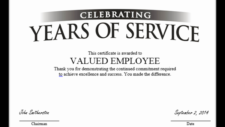 Certificate for Years Of Service Elegant Certificate Service Template Oursearchworld