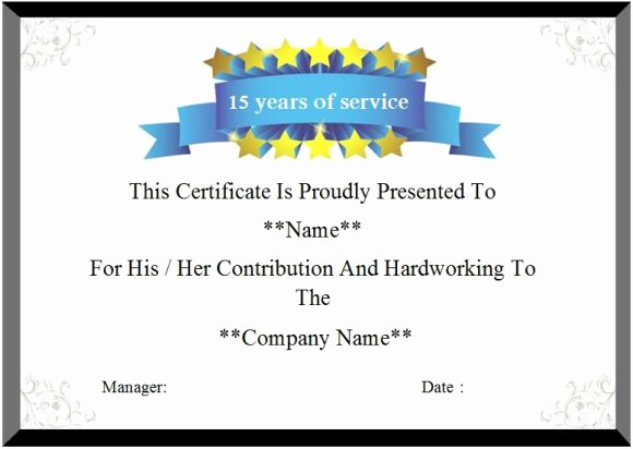 Certificate for Years Of Service Fresh 24 Certificate Of Service Templates for Employees formats