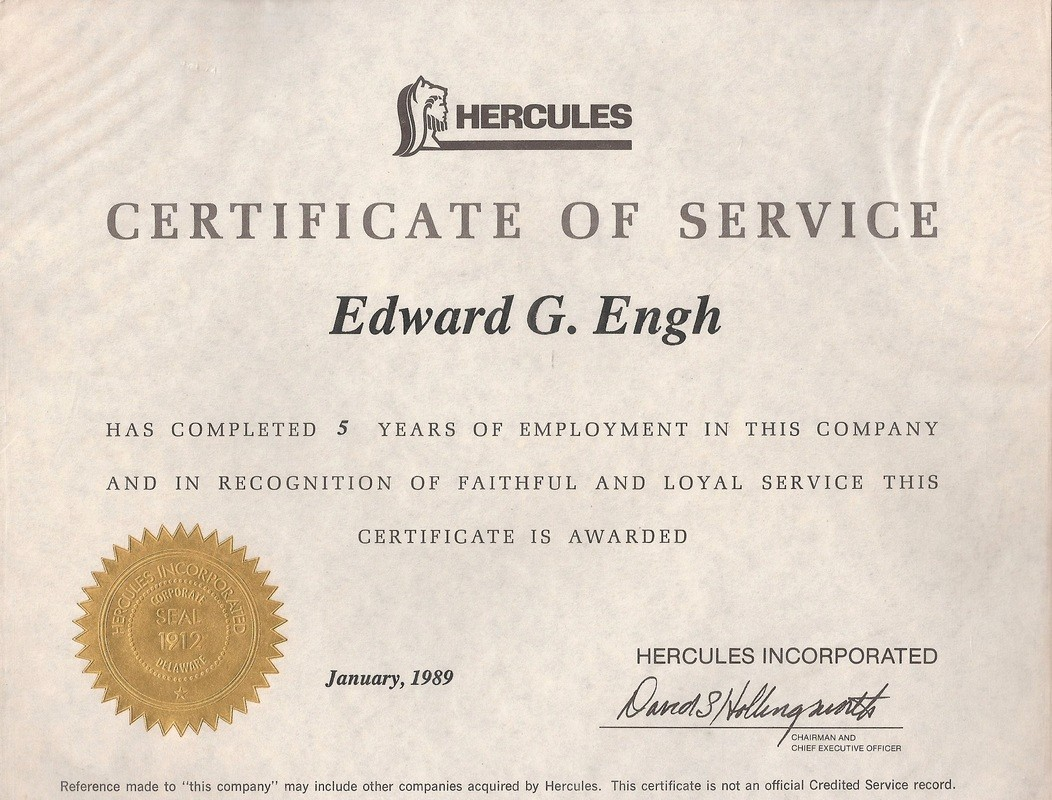 Certificate for Years Of Service Fresh Edward G Engh Biography