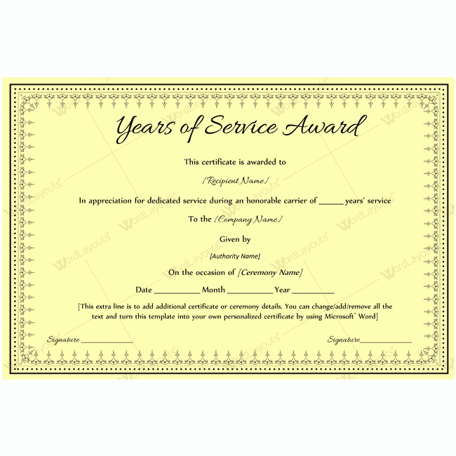 Certificate for Years Of Service Inspirational 89 Elegant Award Certificates for Business and School events