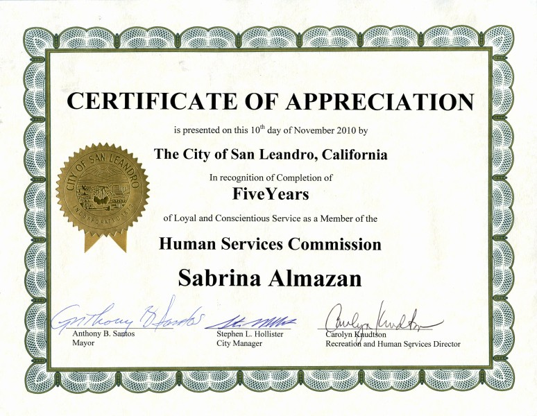 Certificate for Years Of Service Inspirational Awards & Certifications