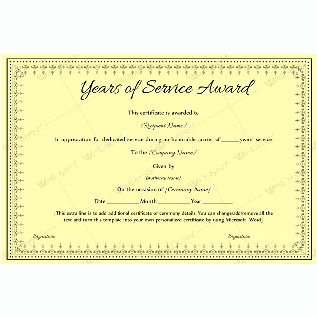 Certificate for Years Of Service Inspirational Best Years Service Award Certificate Award