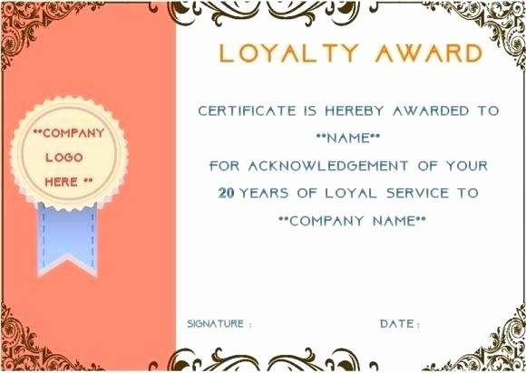 Certificate for Years Of Service Lovely Free 10 Year Service Certificate Template Award Editable