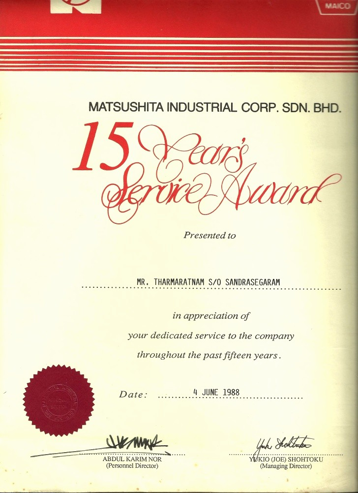 Certificate for Years Of Service Luxury 15 Years Service Award