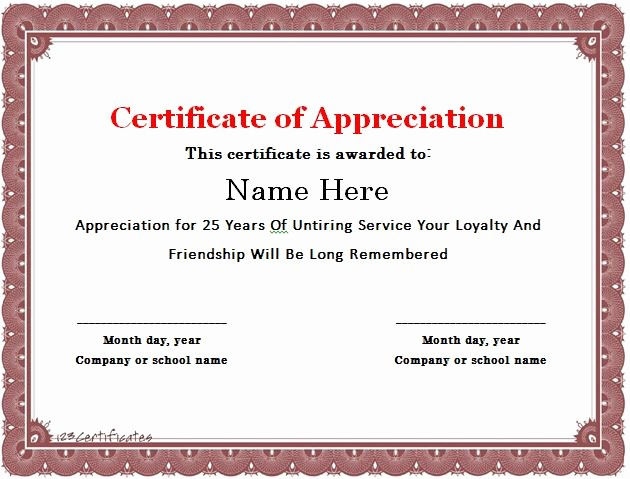 Certificate for Years Of Service Luxury 30 Free Certificate Of Appreciation Templates and Letters