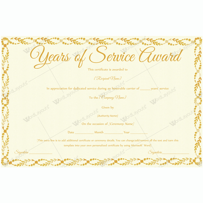 Certificate for Years Of Service Luxury 89 Elegant Award Certificates for Business and School events
