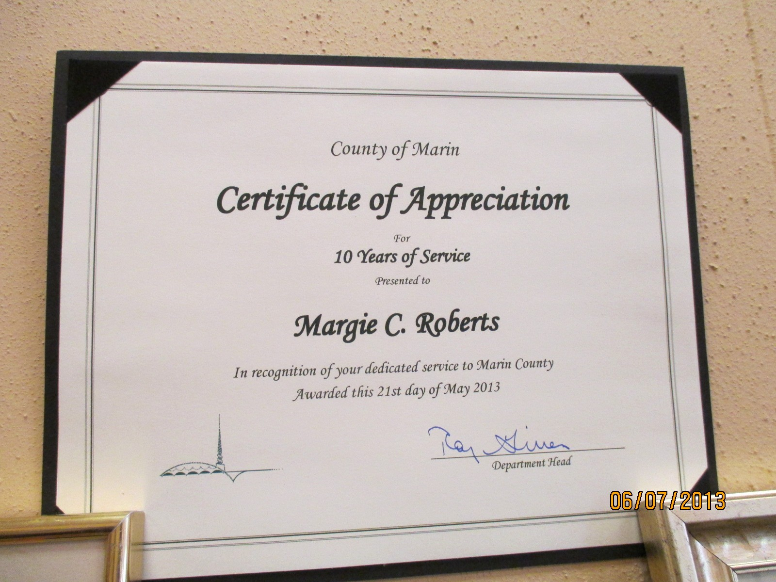 Certificate for Years Of Service Luxury Certificate Of Appreciation 10 Years