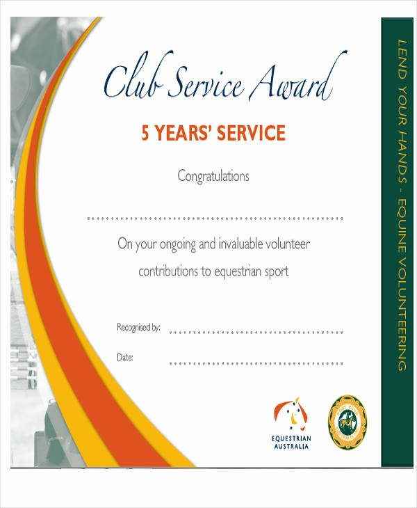 Certificate for Years Of Service New 22 Award Certificates Samples & Templates