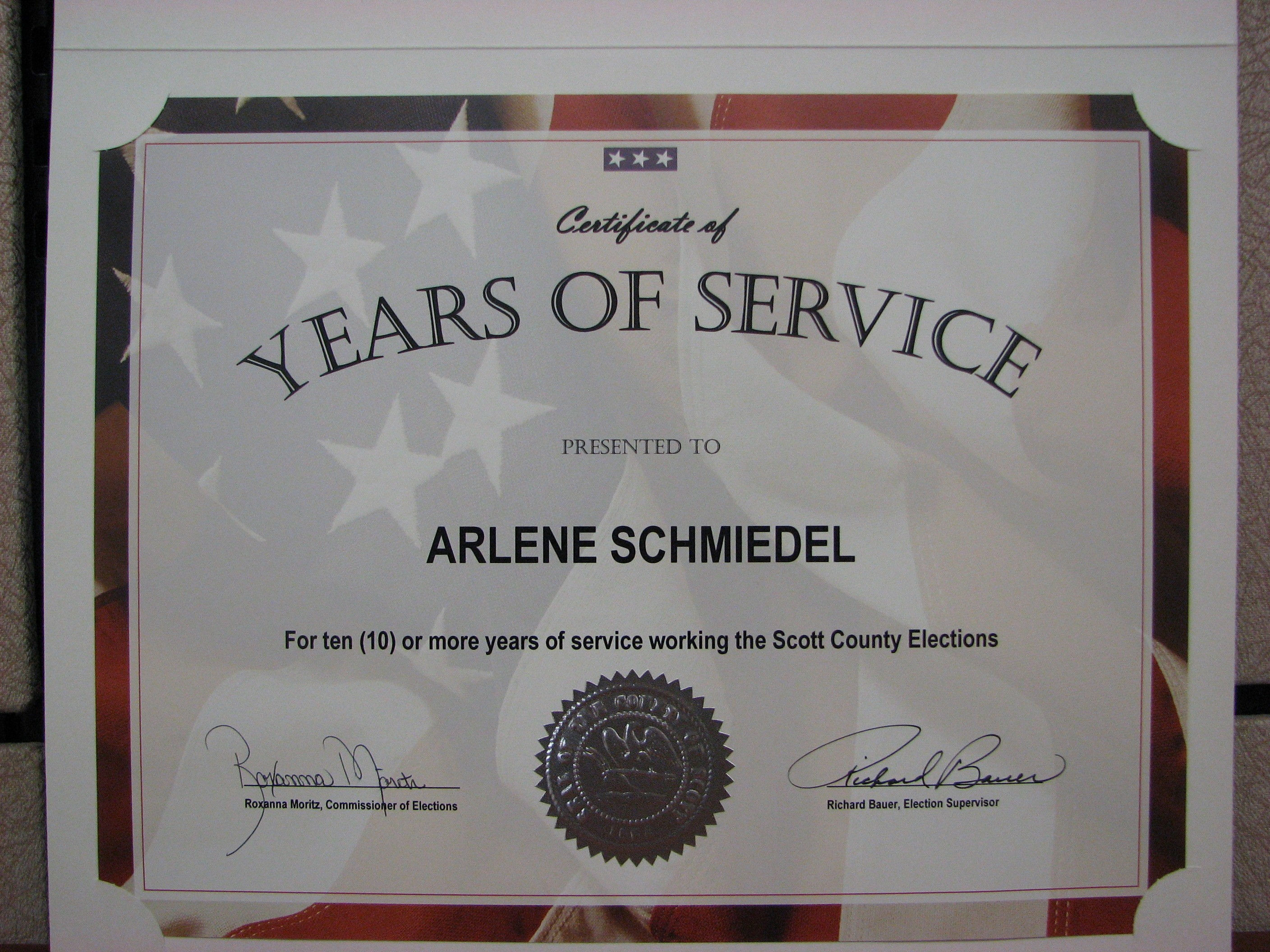 Certificate for Years Of Service New August 2011
