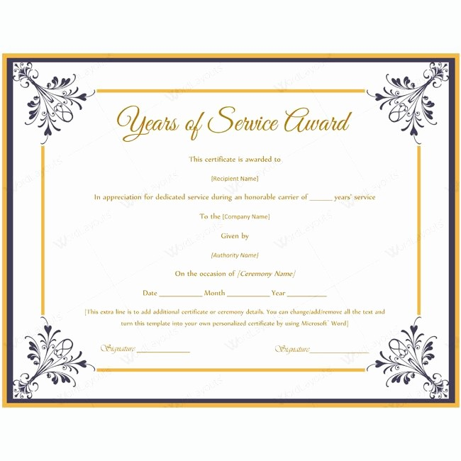 Certificate for Years Of Service New Certificate Templates