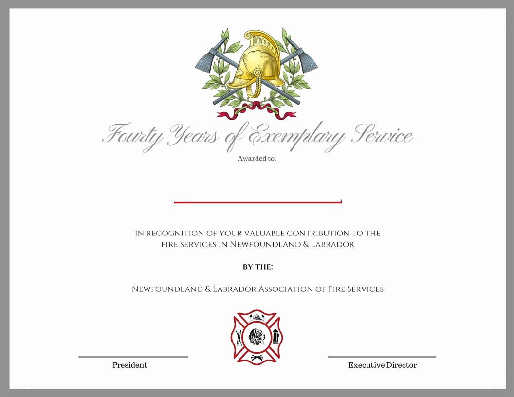 Certificate for Years Of Service New forms