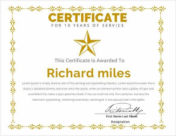 Certificate for Years Of Service New Printable Certificate Template 46 Adobe Illustrator