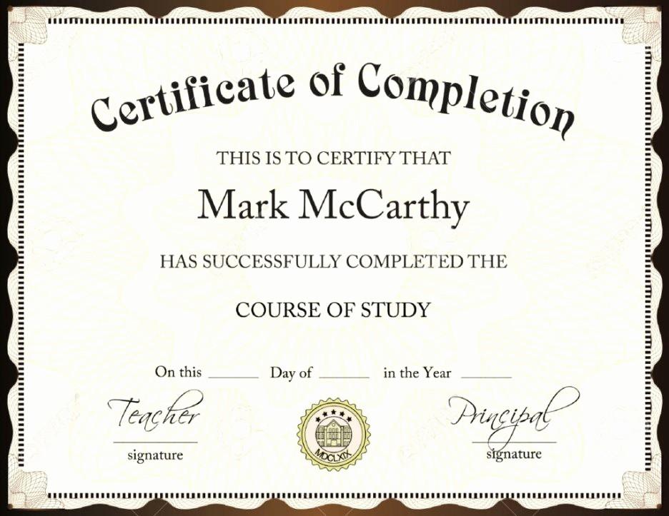 Certificate Of Accomplishment Template Free Awesome Certificate Template Word Certificate Templates Trakore