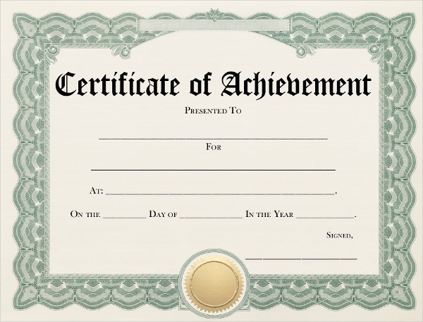 Certificate Of Accomplishment Template Free Best Of 7 Achievement Certificates Examples & Samples