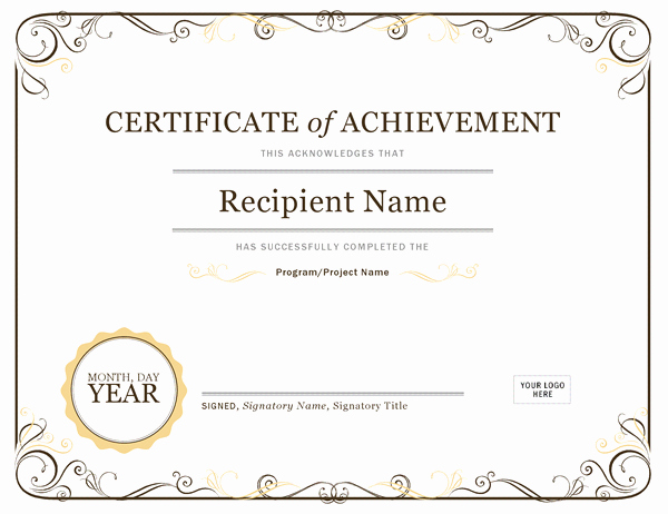 Certificate Of Accomplishment Template Free Elegant 26 Achievement Certificates for 2018
