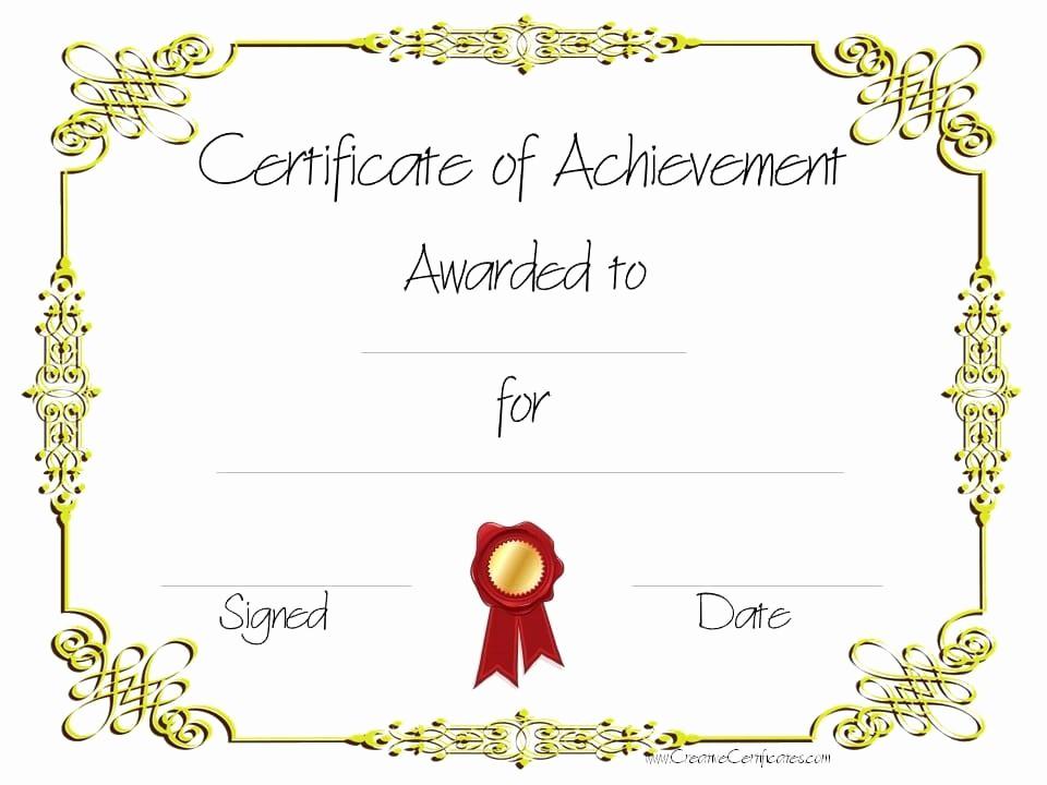 Certificate Of Accomplishment Template Free Elegant Free Customizable Certificate Of Achievement