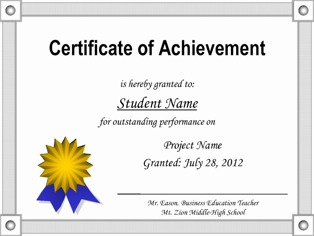 Certificate Of Accomplishment Template Free Inspirational Printable Certificate Of Achievement