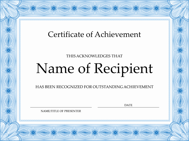 Certificate Of Achievement Free Template Awesome Certificate Of Achievement Blue
