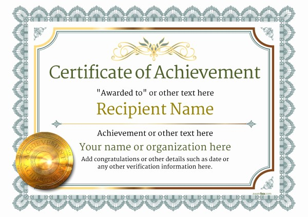 Certificate Of Achievement Free Template Awesome Certificate Of Achievement Free Templates Easy to Use