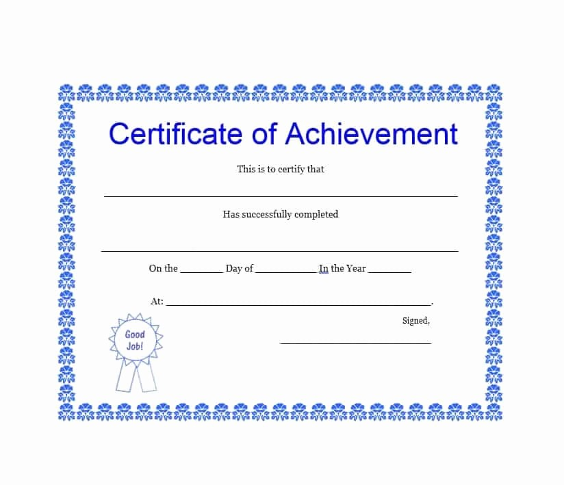 Certificate Of Achievement Free Template Beautiful 40 Great Certificate Of Achievement Templates Free