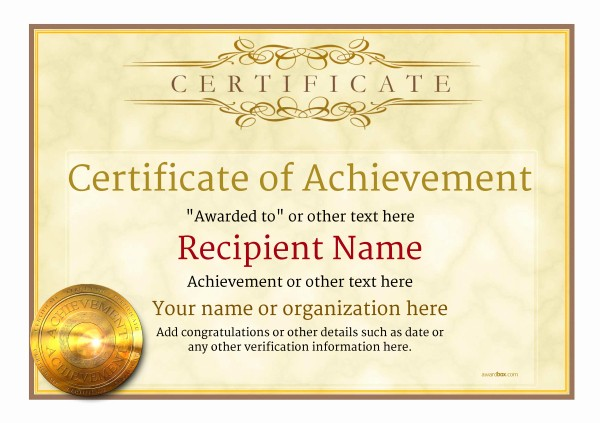 Certificate Of Achievement Free Template Beautiful Certificate Of Achievement Free Templates Easy to Use