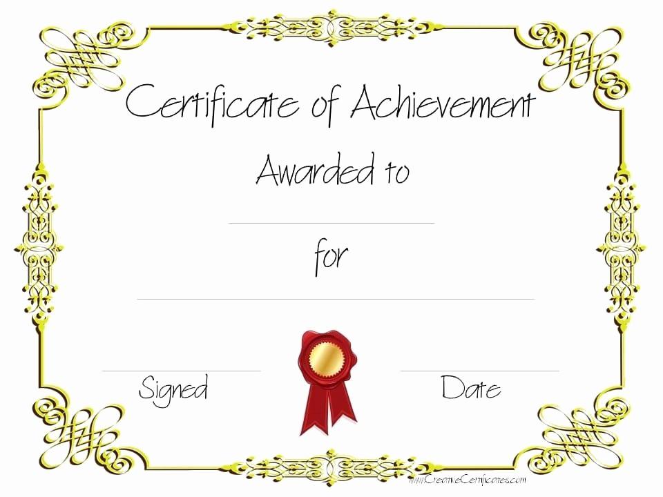 Certificate Of Achievement Free Template Best Of Copy 8 Of Certificate Of Achievement 960×720