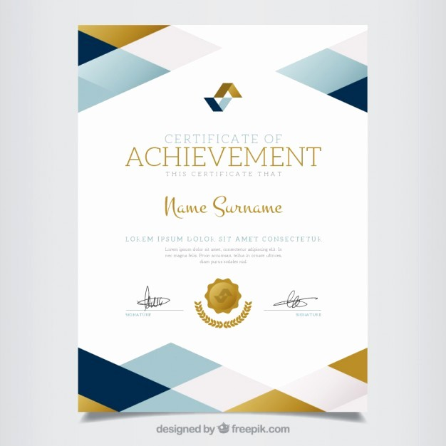 Certificate Of Achievement Free Template Best Of Geometric Certificate Of Achievement Vector