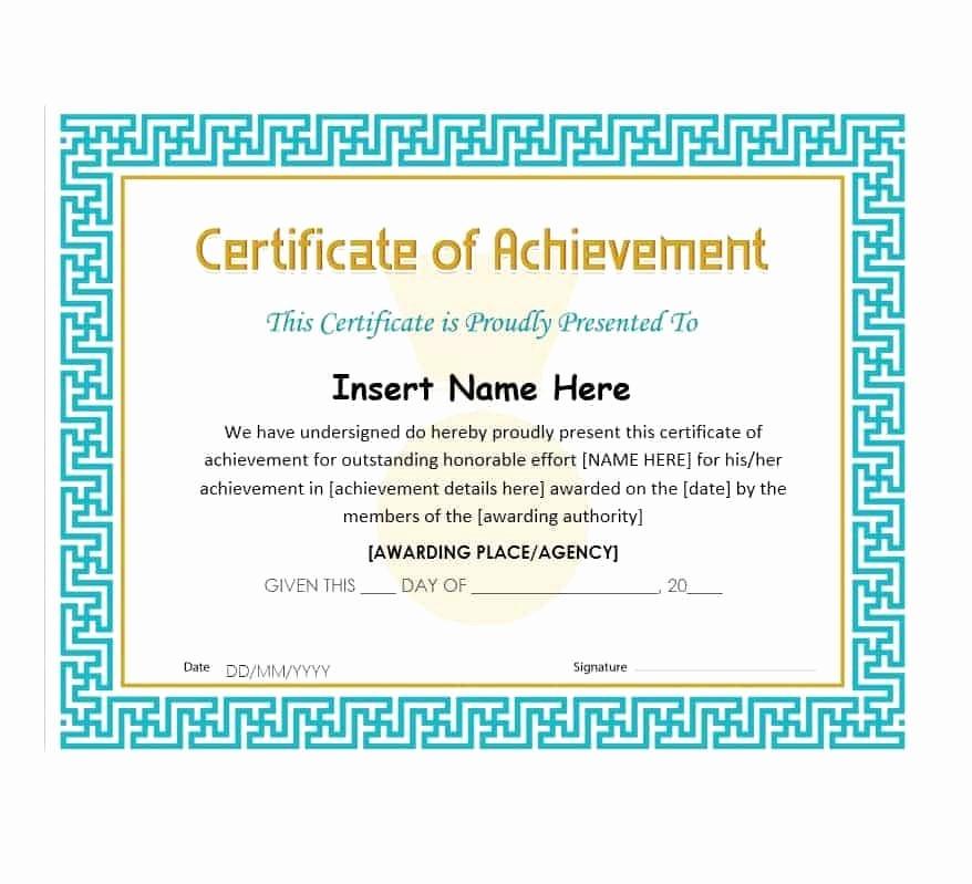 Certificate Of Achievement Free Template Fresh 40 Great Certificate Of Achievement Templates Free