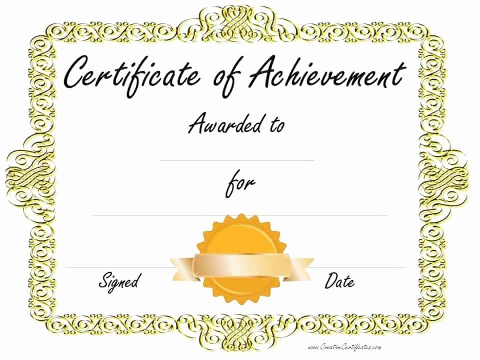 Certificate Of Achievement Free Template Fresh Free Customizable Certificate Of Achievement