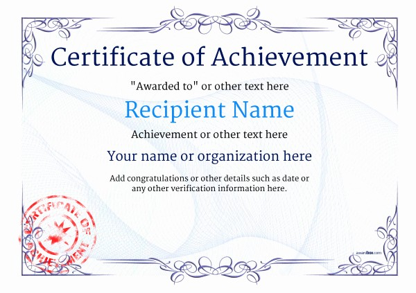 Certificate Of Achievement Free Template Inspirational Certificate Of Achievement Free Templates Easy to Use