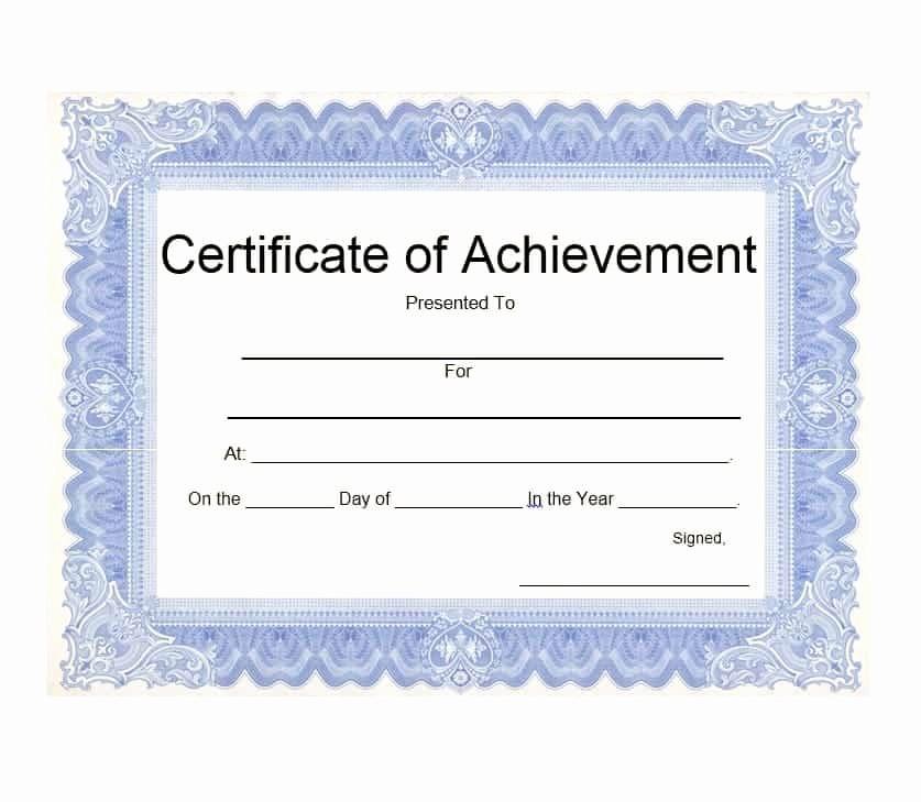 Certificate Of Achievement Free Template Lovely 40 Great Certificate Of Achievement Templates Free